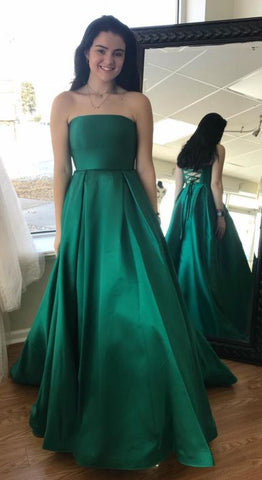 Elegant Strapless Green Long Prom Dress, Green Prom Dress 2019, Graduation Dress Ball Gown, F0797