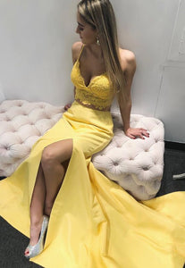 two piece yellow long prom dress, 2019 mermaid prom dress with side slit, princess prom dress, formal evening dress, F0798