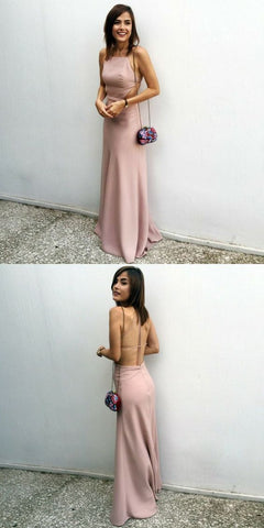 simple blush long prom dresses, spaghetti straps backless prom party dresses, fashion floor length prom dresses, F0801