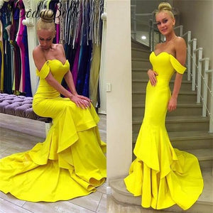 Sexy Off Shoulder Mermaid Yellow Jersey Prom Dresses, Popular Sweetheart Prom Dresses, F0802