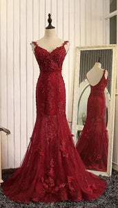 Prom Dresses,Evening Dress,Party Dresses,Formal Dresses,Straps Beads Mermaid Evening Dresses 2019 with Lace Appliques,Red Pageant Gowns, F0805