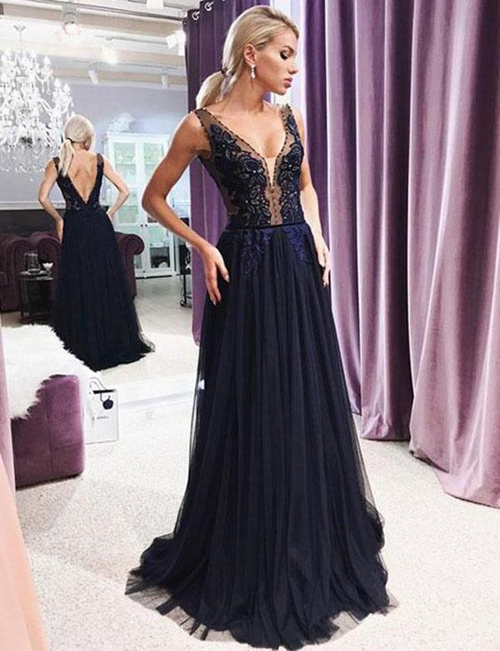 A Line V Neck Open Back Navy Lace Long Prom Dresses with Beading, Elegant Evening Dresses, F0806