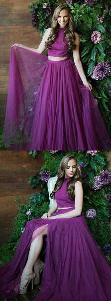 Two Piece Round Neck Grape Tulle Prom Dress with Sequins, F0809