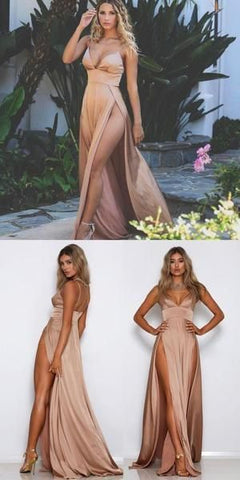 Cheap Spaghetti Straps Side Split Simple Modest Sexy Prom Dresses, Evening dresses, F0813