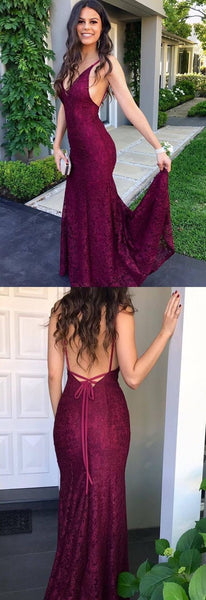 Simple burgundy lace prom dresses, elegant mermaid backless wedding party dresses, modest criss cross straps evening dresses, F0815