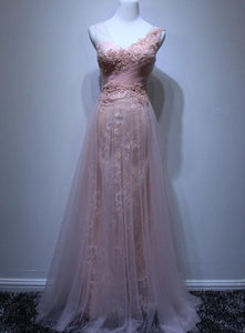 Pink Tulle and Lace Long Formal Dress 2019, Straps Party Dresses, Charming Formal Dress, F0821