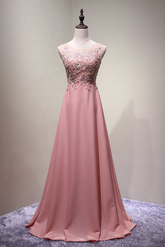 Dark Pink Chiffon and Beaded A-line Round Neckline Junior Prom Dress 2019, Long Evening Dress, F0823