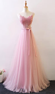 Pink Straps Tulle A-line Lace Applique Wedding Party Dress, New Style Prom Dress 2019, F0826
