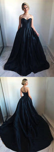 Simple A-Line Sweetheart Navy Blue Satin Long Prom/Evening Dresses with Sweep Train, F0830