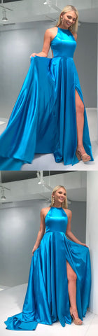 Simple A-line Long Prom Dress with Train, F0833