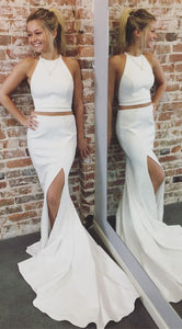 Gorgeous Two Piece White Mermaid Long Evening Dress with Side Slit, F0836