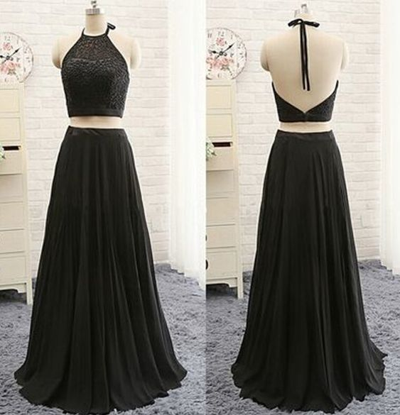 Beautiful Black Two Piece Prom Dresses with Beadings,Prom Dress, Party Dresses, F0838