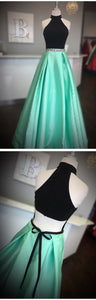 Elegant High Neck Two Piece Black and Mint Green Long Prom Dress, F0842