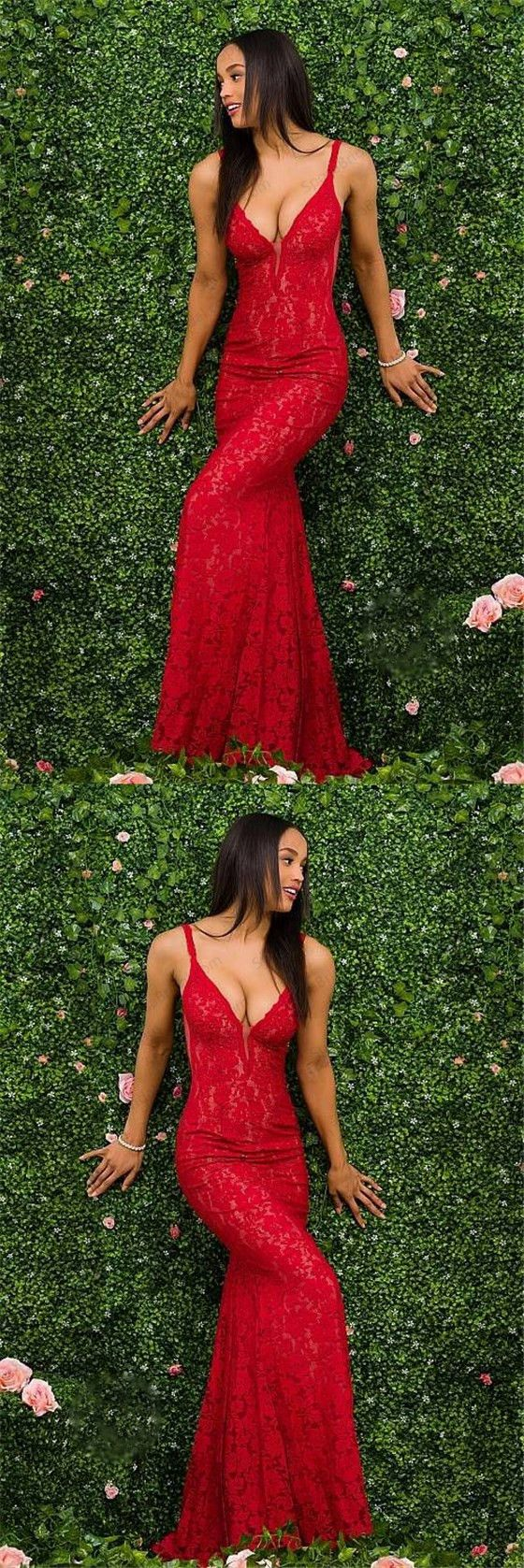 Charming Red Lace Spaghetti Straps Prom Dress, Gorgeous Mermaid Prom Dresses, F0846