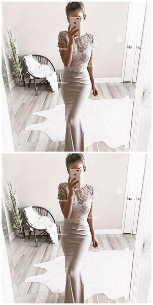 Sexy Two Pieces Short Sleeve Lace Mermaid Long Evening Prom Dresses, Popular Cheap Long 2019 Party Prom Dresses, F0852