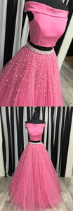 two piece off the shoulder watermelon long prom dress, 2019 prom dress with white pearls, F0854