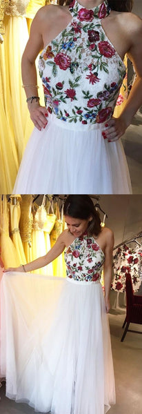 2019 high neck halter white long prom dress, prom dress with embroidered floral, party dress, spring prom dress , F0855