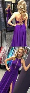 simple purple long prom dress, 2018 prom dress, chiffon long prom dress, prom dress with side slit, party dress, formal evening dress, F0860