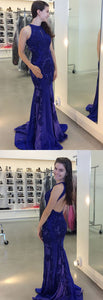 royal blue mermaid long prom dress, 2018 prom dress, gorgeous mermaid prom dress with backless, F0865