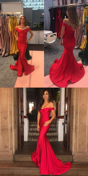 gorgeous off the shoulder red long evening dresses, red mermaid long prom dresses , F0868
