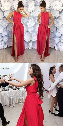 2018 simply long prom dresses, watermelon chiffon prom dresses, long prom dresse with side slit, F0869