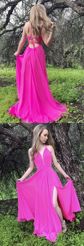 princess long prom dress, hot pink long prom dress with side slit, 2018 prom dress, F0870