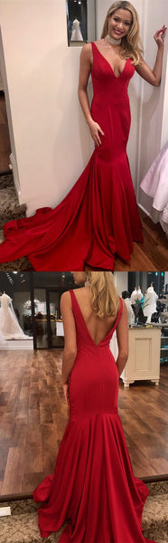 formal evening dresses ball gown, gorgeous v neck mermaid red long prom dress, 2018 prom dress with train, party dress, F0872