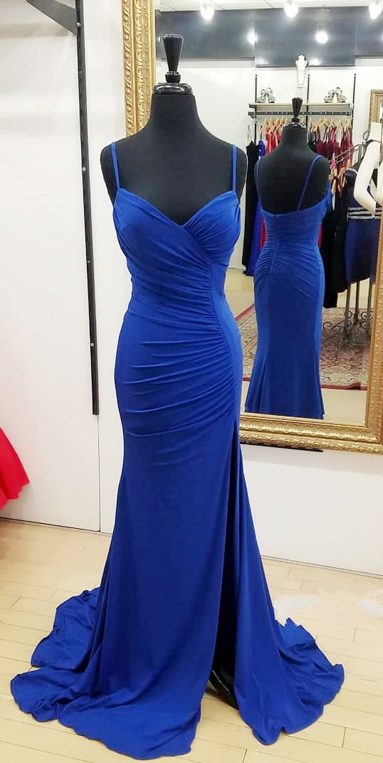 Simple Royal Blue Long Prom Dress, F0873