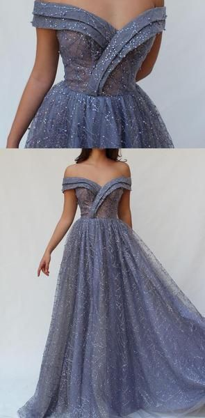 Sparkly Shinning Blue Sequin Off the Shoulder Long A Line Prom Dresses, Evening Dress, F0878