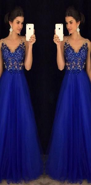 V Neck Royal Blue A Line Popular Formal Prom Dresses, Long Evening Dress for Women, F0879