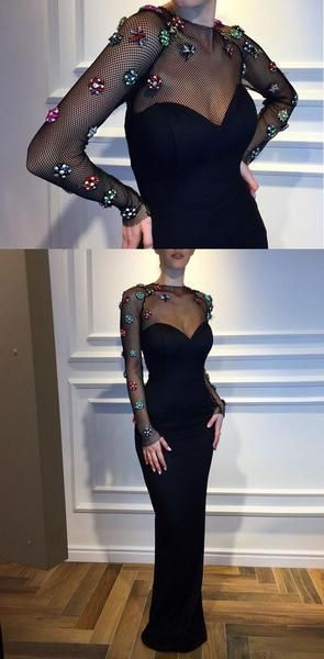 Black Mermaid Long Sleeves Elegant Formal Custom High Quality Prom Dresses , F0881