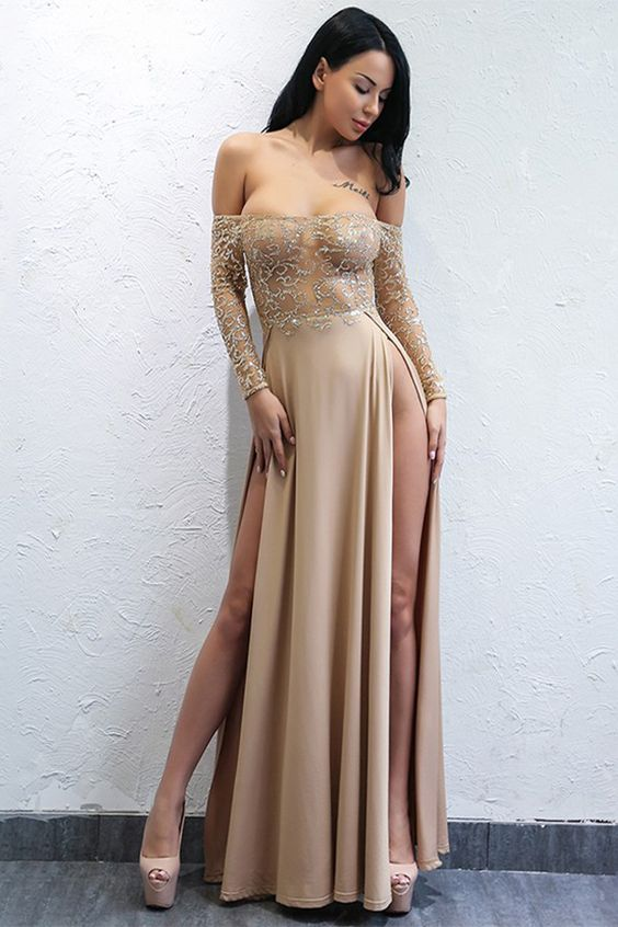 A-Line Off-the-Shoulder Long Sleeves Champagne Prom Dress, F0882