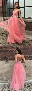 A-Line V-neck Backless Floor-Length Pink Prom Dress With Beading , F0883