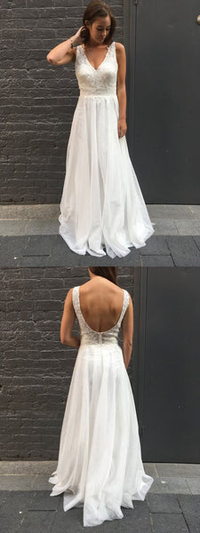 Beautiful Elegant V Neck White Chiffon Long Prom Dress, Gorgeous Backless Prom Dress Formal Evening Dress, F0886