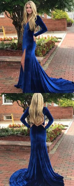 Mermaid Long Sleeves Velvet Royal Blue Prom Dresses, V Neck Formal Evening Gown , F0887