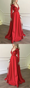 Stylish Embroidery Beaded Long Sleeves Satin Prom Dresses,Evening Dresses, F0892