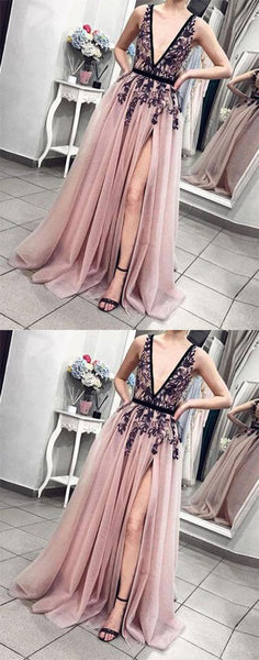 Cheap Pink V-Neck Tulle Lace Long Prom Dresses, Charming tulle evening dress, F0894