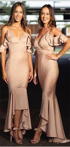 Spaghetti Straps Bridesmaid Bridesmaid, Mermaid High Low Cheap Modest Prom Dresses, F0896
