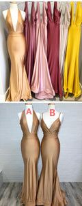 Mermaid Cheap Soft Colorful Prom Dresses, Gold Yellow Blush Burgundy Elegant Bridesmaid Dress, F0897