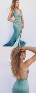 Spaghetti Straps Sexy Mermaid V-Neck Turquoise Long Prom Dresses with split, , F0900