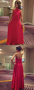 Simple Red Chiffon Wedding Party Dresses, Backless Evening Gown, Formal Dress 2019, F0907