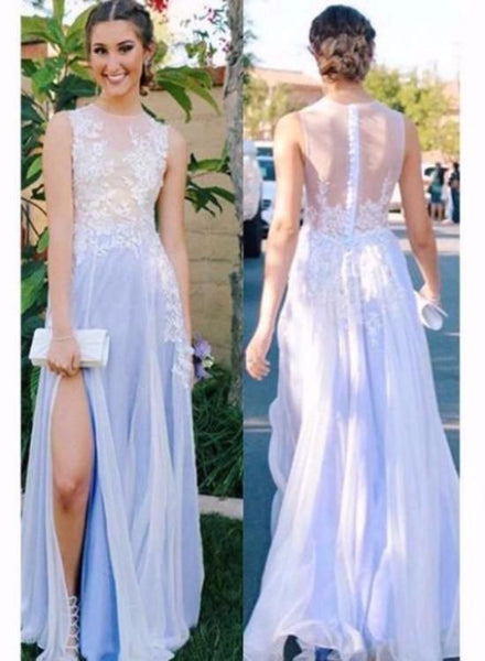 Chiffon and Lace Long Slit Prom Dresses, A-line Formal Gowns, F0908