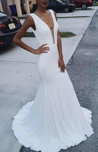Elegant Mermaid White Prom Dresses, Deep V-neckline Prom Dresses, Simple Sexy Party Gowns, Formal Evening Dresses, F0909