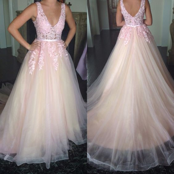 Light Pink and Champagne Tulle V-neckline Long Party Gowns, Pink Formal Dresses, Prom Dresses 2019, F0910