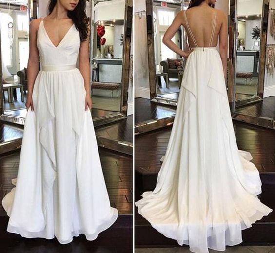 White Chiffon Plunge V Spaghetti Straps Floor Length Ruffled A-Line Formal Dress Featuring Open Back, Prom Dress, F0911