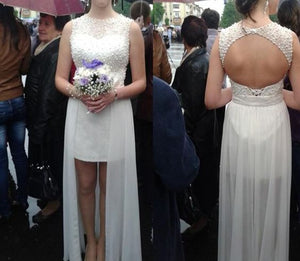 White High Low Beaded Open Back Prom Dresses, White Prom Dresses, Graduation Dresses, F0912