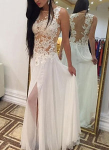 Sexy White Handmade Slit White Long Prom Dress With Lace Applique, White Prom Dresses, Prom Gowns, Formal Dresses, F0913