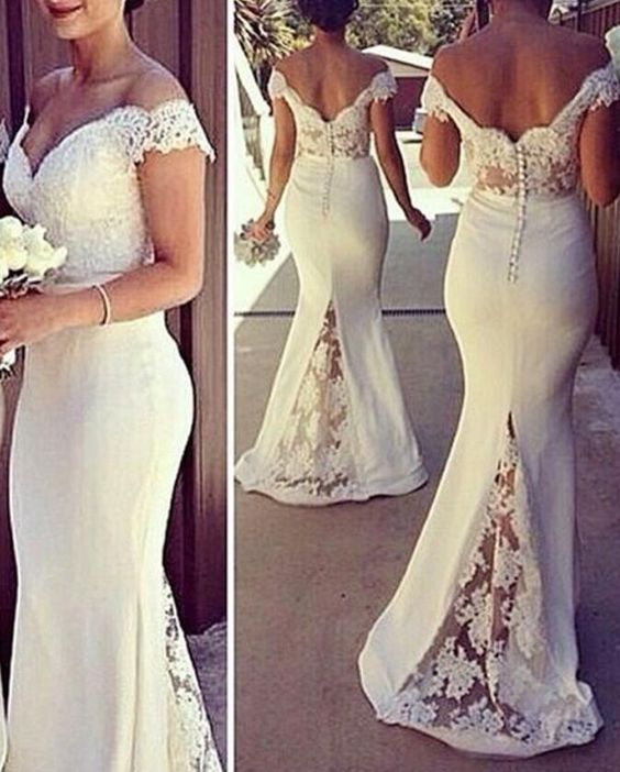 White Spandex Off Shoulder Spandex with Lace Bridesmaid Dresses, White Wedding Party Dresses, Evening Gowns, F0914