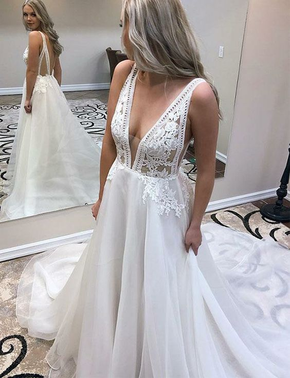 Deep V Neck White Chiffon Prom Dresses Long Evening Gowns with Appliques, F0917