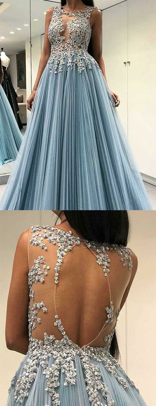 A Line Jewel Open Back Light Blue Tulle Prom Dress with Appliques, F0918